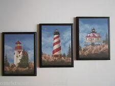 Lighthouses wall decor plaques bathroom signs ocean coastal bath red white blue