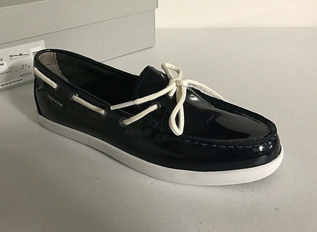 COLE HAAN Womens' Nantucket Camp Moc Patent Leather Boat shoes Navy bluee 7.5 US