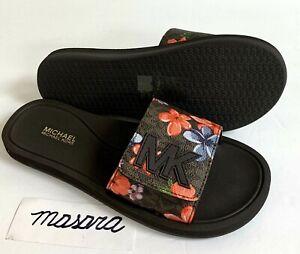 Women-MK-Michael-Kors-Slide-Sandals-Mini-MK-Logo-Brown
