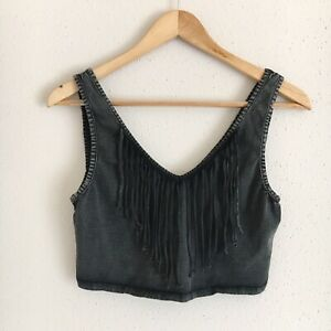 Urban-Outfitters-Ecote-Womens-Size-Large-Black-Gray-Fringe-Festival-Crop-Top