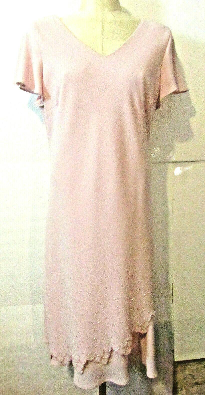 S L Fashion Women's Size16 Maxi Dress Short Sleeve Scalloped Crystal Beading