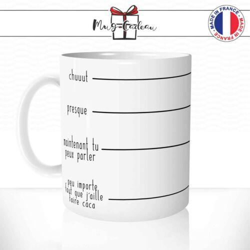 Mug Niveau de Café Chut Presque Tu Peux Parler Cadeau Humour Tasse Personnalisée