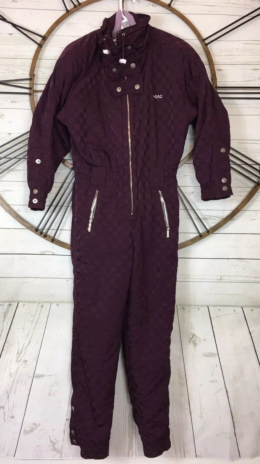Womens Vintage Retro HEAD Wine Snow Ski-snowboard One Piece Suit