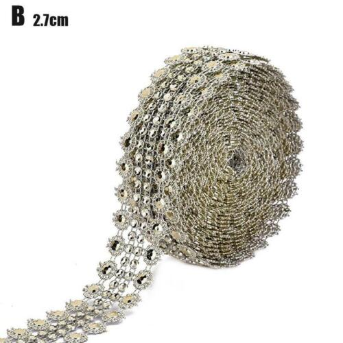 5 Yards Crystal Diamond Rhinestone Chain Ribbon Trim Sewing Applique 2 Colours