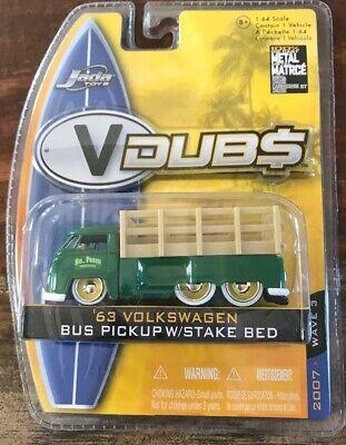 '63 Volkswagen Bus Pickup W//Stakebed 1:64 Diecast MOC Jada Toys VDUBS