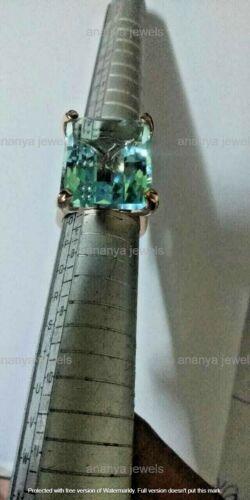 14 Ct Emerald Cut Solitaire Aquamarine Vintage Engagement Ring 14k Rose Gold GP