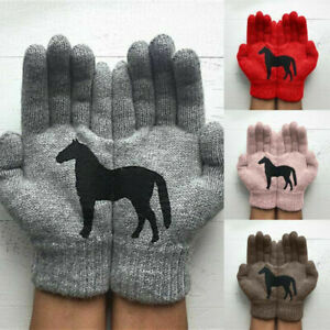 Winter-Warm-Womens-Gloves-Cute-Horse-Print-Knitted-Gloves-Wool-lady-Mittens