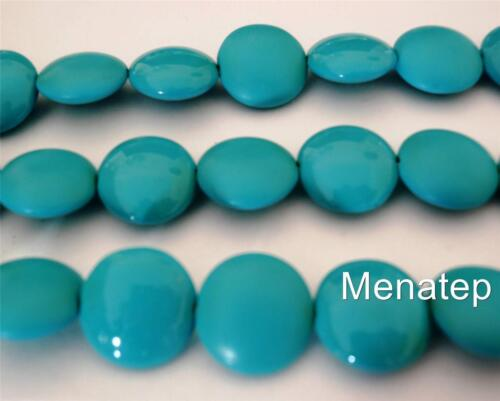 4 14mm Czech Glass Cushion Round Beads: Pop Four Turquoise