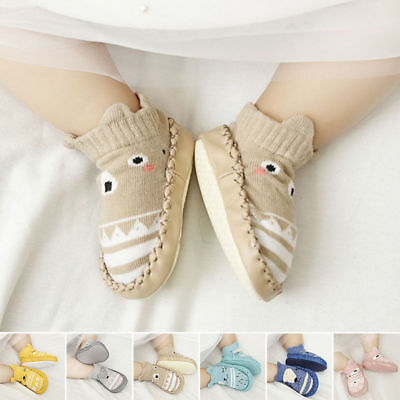 Baby Kids Unisex Long Socks Shoes Prewalker Anti-slip Boots Slippers Casual
