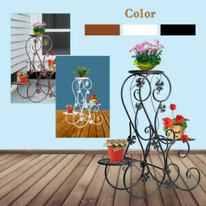 219d26f048df 3 TIERS Floor - Standing Wrought Iron Pot Plant Stand Flower Planter ...