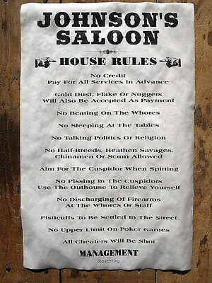 "(629) OLD WEST SALOON JOHNSON'S HOUSE RULES REGULATIONS NOVELTY POSTER 11""x17"""