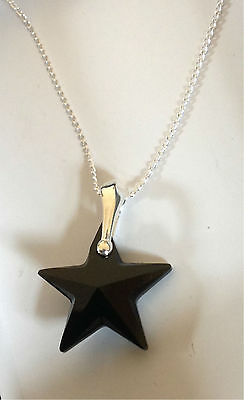 Collar de estrella de plata esterlina 925 Jet Negro Swarovski Elements Colgante Regalo