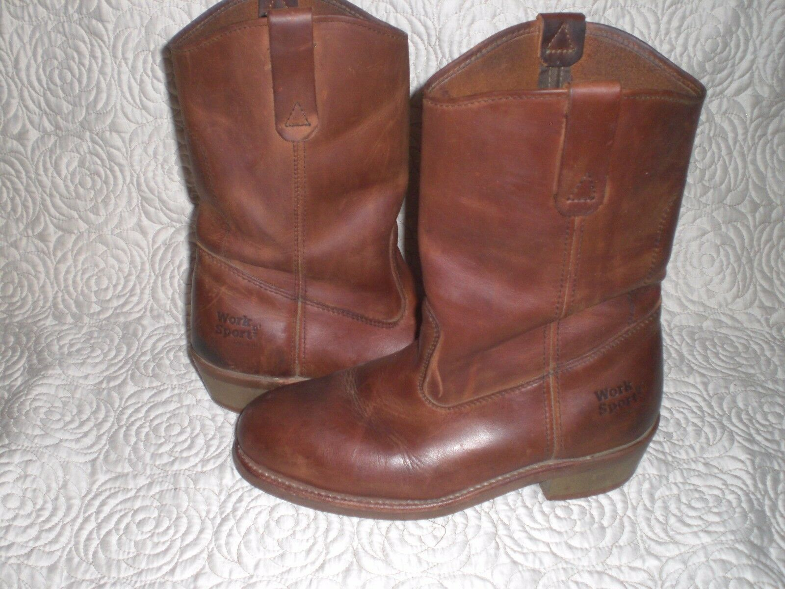 Work N Sport Brown Leather Cowboy  Work Boots Size 9 D