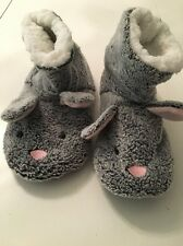 Ladies Grey Bunny Rabbit Primark Slippers Boots Size 3 4 5 Stocking Filler Fleec