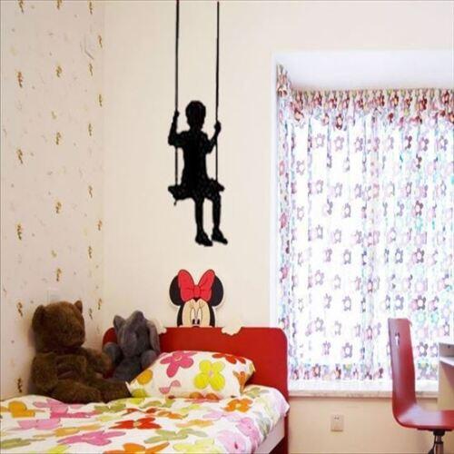 Huhome PVC Wall Stickers Wallpaper Cute boy swinging Children Bedroom home decor