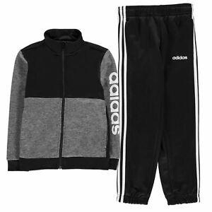 Adidas Enfants Garçons Linéaire Logo Poly Survêtement Junior à Manches Longues Zip Complet-afficher Le Titre D'origine Vente D'éTé SpéCiale