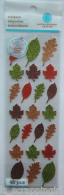 ~GLITTERED LEAF STICKERS~ Martha Stewart Crafts; Fall Autumn Leaves, brown green