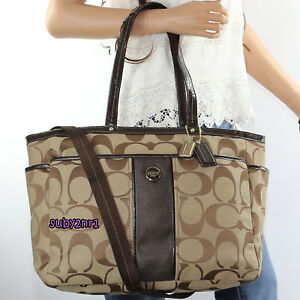NWT-Coach-Signature-Stripe-Multifunction-Tote-Diaper-Baby-Bag-F21865-Brown-NEW