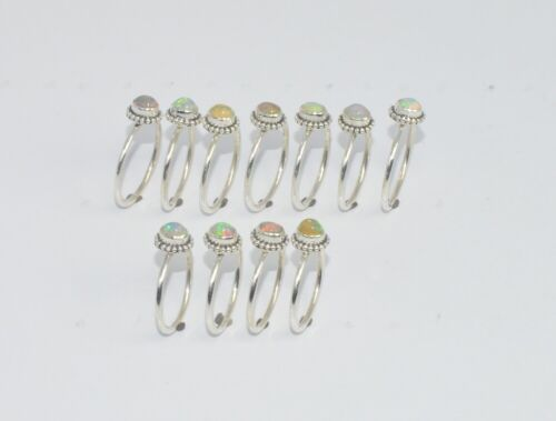 WHOLESALE 11PC 925 SOLID STERLING SILVER ETHIOPION OPAL RING LOT T628