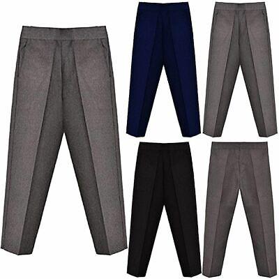 Boys Half Elasticated Pull Up School Uniform Trousers Teflon Coated with Pockets