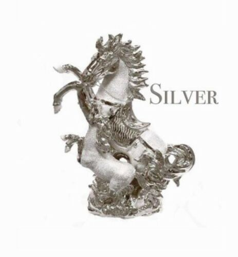 SHINY ITALIAN SILVER CHROME HORSE WITH FOAL HOME DECOR ORNAMENT 25CM TALL GIFT