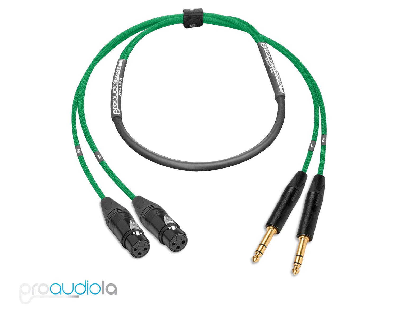 Premium 2 Channel Mogami 2930 Snake   Neutrik Gold XLR F to TRS   Grün 45 ft.