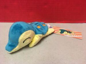 "Japanese Pokemon Center Leafeon Laying Beanbag 6/"" Plush Eyes Open Kuttari"