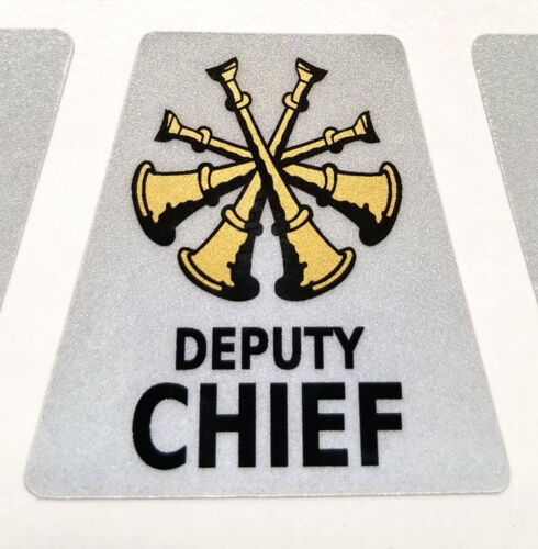 REFLECTIVE Firefighter Rank Helmet Decal Tetrahedron Gold Metallic Sticker 0289