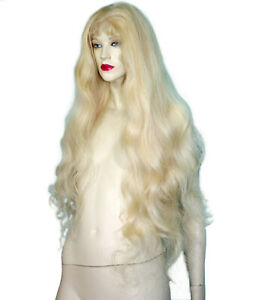 REAL-Human-Hair-Silk-Top-Full-Lace-Wig-Remi-Remy-Blonde-Body-Wave-Silky-Long