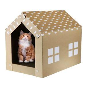 Cat-Scratcher-Cardboard-House-Eco-Friendly-Portable-Easy-Assemble-Kitty-Pet-Fun