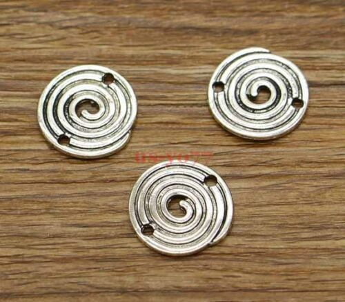 15 Circle Connector Charms Maze Charms Swirl Charms Antique Silver 20x20 2803