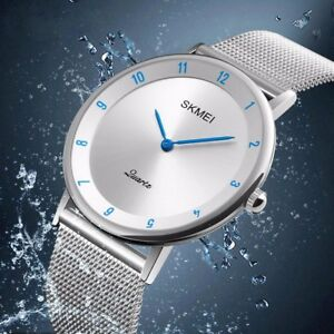 Mens-Luxury-Ultra-Quartz-Analog-Minimalist-Slim-Mesh-Stainless-Steel-Wrist-Watch