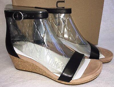 bb7f8d6416c UGG Australia Emilia Wedge Ankle Strap SANDALS Black Leather Suede Cork  1016765