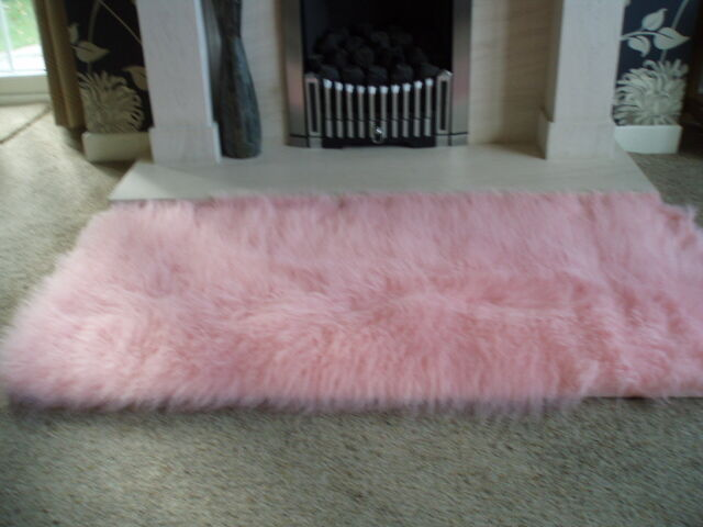PALE PINK FAUX SHEEPSKIN FLUFFY RUG RUGS 51 x 27INCH