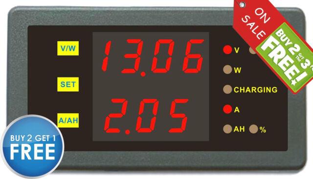Solar Battery Monitor DC 120V 30A Dual Voltmeter Ammeter 999AH Auto Car Motor