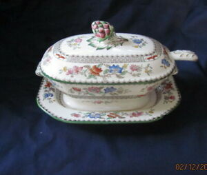 SPODE-COPELAND-CHINESE-ROSE-REG-NO-629599-COVERED-DISH-STAND-AND-LADLE