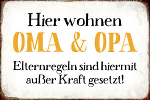 Hier-Wohnen-Oma-amp-Grandpa-Tin-Sign-Shield-Arched-Metal-7-7-8x11-13-16in-R0979