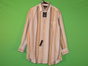Claiborne-Mens-Size-16-1-2-32-33-Large-Tan-Striped-Wrinkle-Free-Shirt-NEW