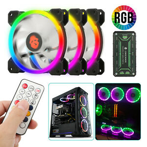3-Pack-LED-Cooling-Fan-RGB-120mm-12V-w-Remote-Control-For-Computer-Case-PC-CPU