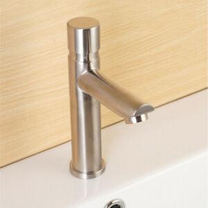 Auto Self Closing Water Saving Tap Bathroom Basin Cold Faucet Delay Button Push