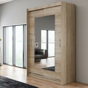 best cheap 97162 85dd4 Details about Spacious Wardrobe Sliding Doors ANA 12AA Mirror Rail LED  Light Closet 150cm