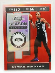 Panini Contenders Optic 2019-20 red prizm carte card #30 DeMar DeRozan