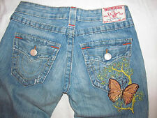 TRUE RELIGION JOEY twisted seam BUTTERFLY embroidered pocket jeans 26