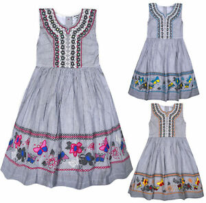 Girls-Sleeveless-New-Stripe-Butterfly-Dress-Kids-Summer-Cotton-Dresses-Age-3-11Y