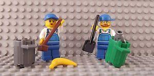 2 Lego Brand New Mini Figures Workman Lady Dustbin Collector Rubbish City Road