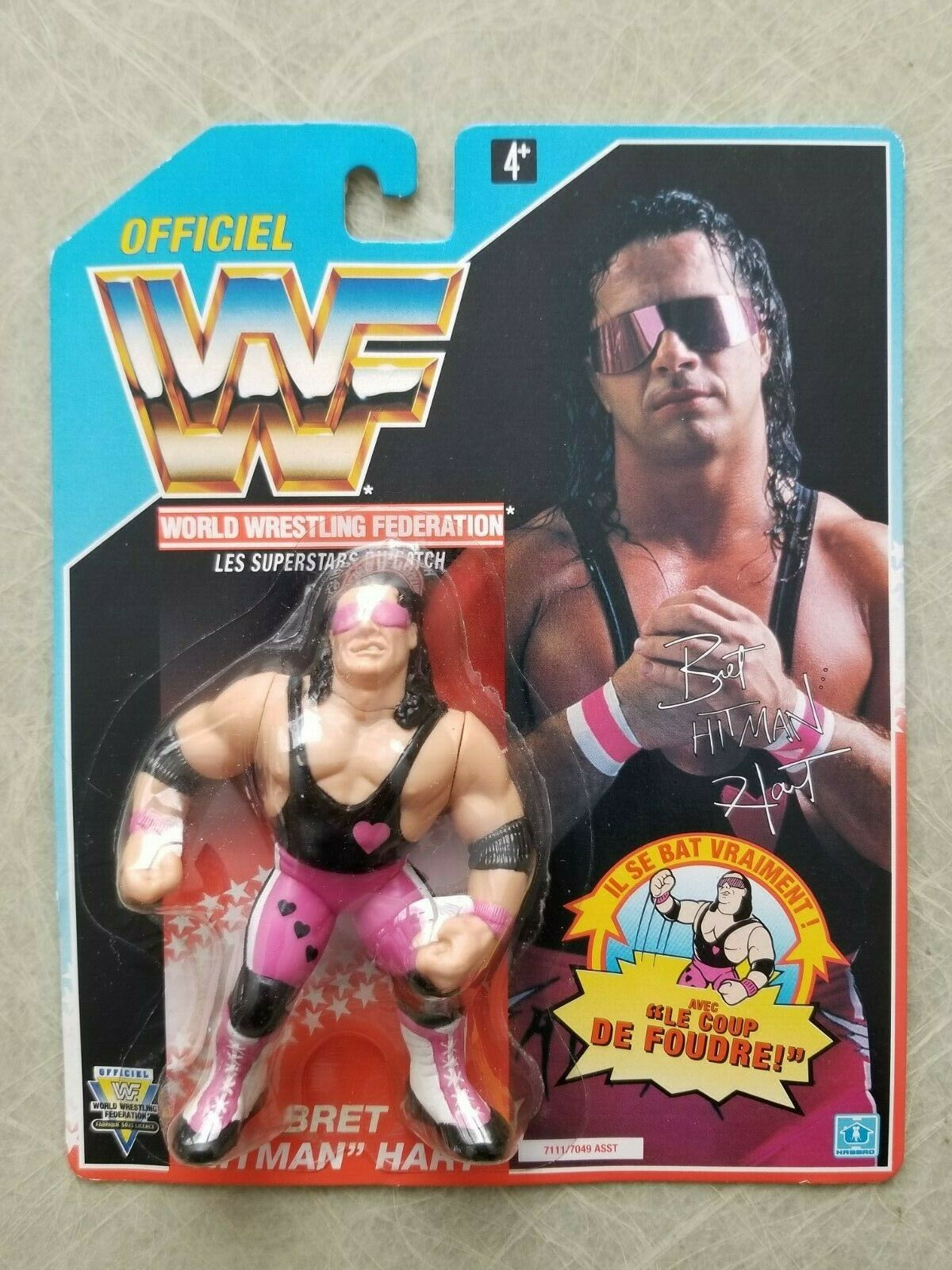 RARE WWF 1992 BRET HITMAN HART Series 4 bluee Card Hasbro Foreign French Card