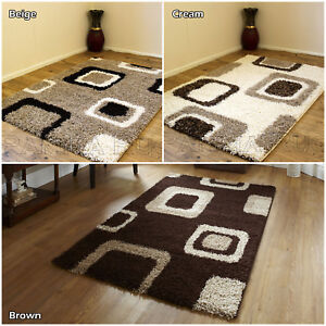 Small Large Brown Beige Cream Box Geometric Non Shed Rugs Runner