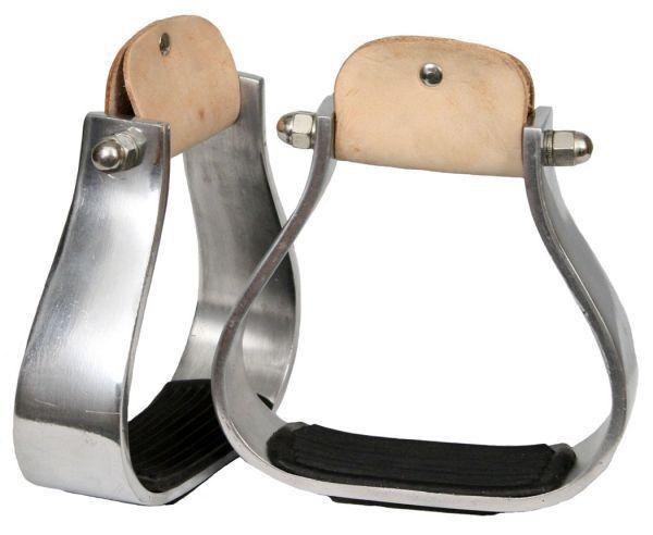 "Showman Wide aluminum stirrup with rubber grip tread. 3"" neck, 2"" tread, 6"" wide"