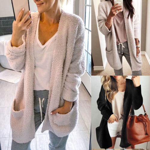 Women Warm Winter Pocket Cardigan Solid Coat Wool Blend Long Jacket Outwear Tops