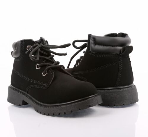 BLACK COLOR MILITARY COMBAT STYLE GIRLS LACE UP KIDS ANKLE BOOTS YOUTH SIZE 1
